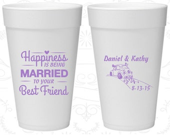Happiness is Being Married to your Best Friend, Foam Cups, Vintage Wedding, Vintage Car, Styrofoam Cups (510)