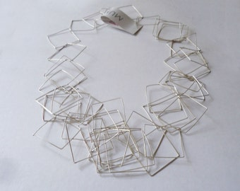 Geometric Necklace - sterling silver - squares - modern - Contemporary Jewelry