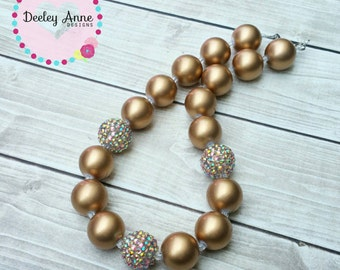 Children's Chunky Bead Necklace gold fall necklace