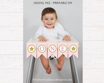 Gold Star High Chair Banner, Gold Glitter, Birthday Party High Chair Banner DIGITAL FILE