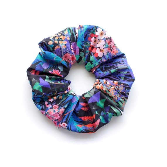 MIDSUMMER DREAM 3.  Large Scrunchy with floral pattern in blue shades. Hair Accessories. Retro Accessory.