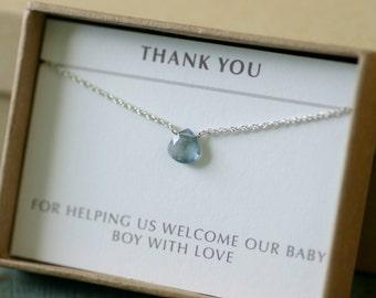 Aquamarine necklace dainty necklace, March birthstone jewelry, blue bridesmaid necklace, petite necklace - Natalie