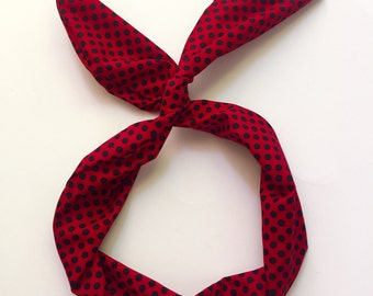 Byrd Band- Bendable Wire Headband- Red with Black Polka Dots