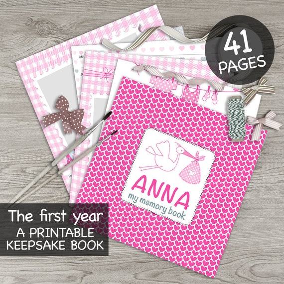 DIGITAL printable personalised baby girl memory book / Baby album / First year book / Baby record book / Baby journal / Baby diary / hearts