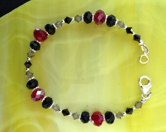 Black and Red Crystal Sterling Silver Bracelet (B8)
