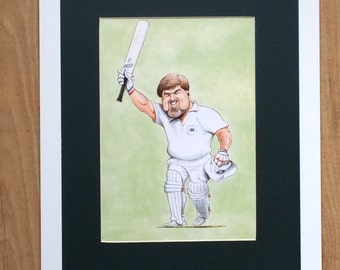 Mounted and Framed Mike Gatting Drawing by John Ireland - 30cms x 40cms - Comical Cricket Art