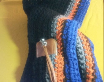 Based in NYC -  Handmade Custom Made Black, Grey, Rust Orange and Royal Blue - Crocheted Infinity Scarf with Invisible Pocket and Hood