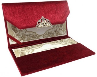 Silk Folio In Red With Diamond Embellishment A Set Of 20