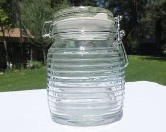 Extra Large Vintage Jar with Original Latching Lid and Art Deco Ribs/Lines