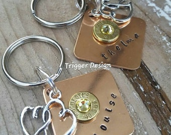Thelma and Louise Best Friend Hand Stamped with 40 Caliber Bullet Double Heart Charm Key Chains - Set of Two - Yellow