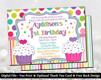 Cupcake Birthday Invitation with FREE Back Design!