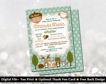 """Woodland Creatures Baby Shower Invitation with FREE Back Design (Free """"Bring a Book"""" Back Design)!"""