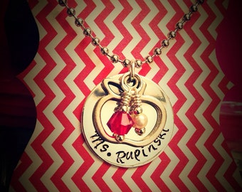 Teachers Name with Apple Charm and Pearl Ruby dangles Necklace