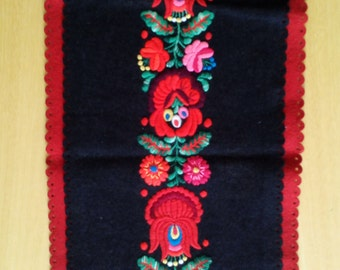 Traditional vintage Hungarian hand embroidery matyo felt table runner centerpiece
