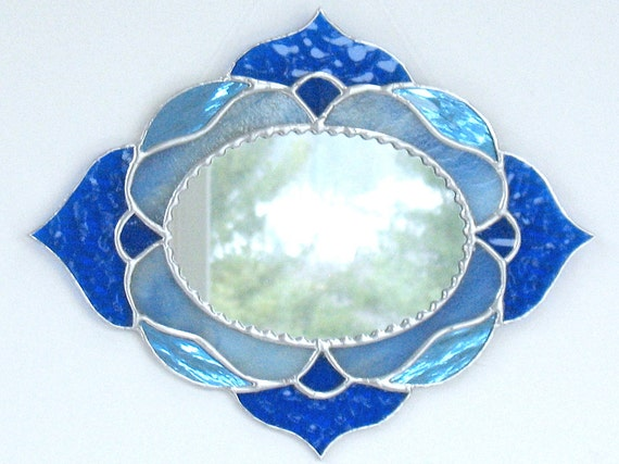 Blue oval decorative accent wall mirror, stained glass wall decor, stained glass art, bedroom, bathroom, hall decor, glass art, gift for her