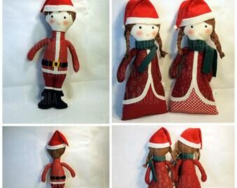 Rag doll: boy and girl Christmas