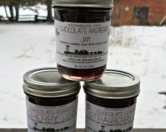 Chocolate Flavored Jams - Lot of 3 - Chocolate Raspberry - Strawberry - Cherry - Unique Dessert Jams - Edible Food Gift - Gift for Mom - Jam