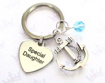 Special daughter keychain - Anchor keyring for daughter - Daughter gift - Birthday gift for daughter - Daughter keyring - Stocking filler