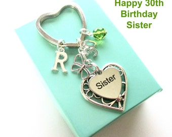 30th birthday gift for Sister - Personalised Sister keyring - Butterfly keyring - Gift for Sister - 30th keyring - Sister birthday - UK