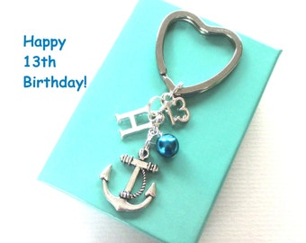 13th birthday gift - Anchor keychain - Personalised 13th keyring - 13th birthday - Anchor keyring with pearl - Initial keyring - UK seller