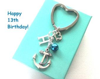 13th birthday gift - Anchor keychain - Personalised 13th keyring - 13th birthday - Anchor keyring with pearl - Initial keyring - UK seller