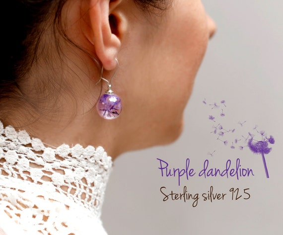 Purple Sterling mini Dandelion earrings: make a wish, sterling silver 925,  wish, real flowers, magical, bridesmaid, seeds