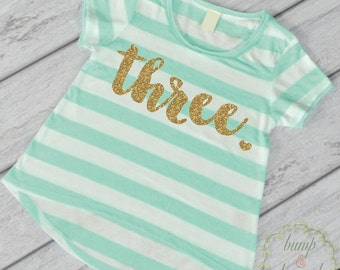Third Birthday Outfit Girl Gold Glitter Three Year Old Girl Third Birthday Shirt 3rd Birthday Girl Outfit Green T-Shirt 102