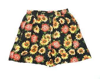 Vintage Womens Floral Silk Shorts