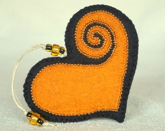 Beaded Black and Orange Wool Felt Heart Ornament #3, Mother's Day Heart, Wedding Favor, Proposal Idea, Anniversary Gift *Ready to ship