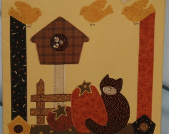 New Country Borders Iron On Fabric Appliques Kit #74102 Birdhouse Kitty Die-Cut Applique Shapes Fus-O-Bond Fall