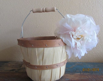 Rustic Apple Basket- Flower Girl Basket - Flower Girl Basket - Rustic Chic Wedding - Basket