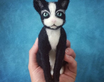 Needle Felted Cat - Black & White Tuxedo Cat