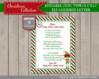 INSTANT DOWNLOAD Printable Editable Elf Goodbye Letter / Add Child or Children's Names & Elf's Name / You Type / Christmas Shop / Item #3064