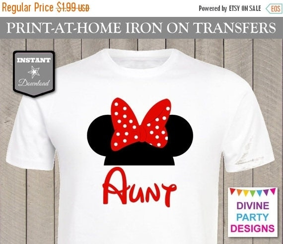 Sale instant download print at home red girl mouse aunt for Instant t shirt printing