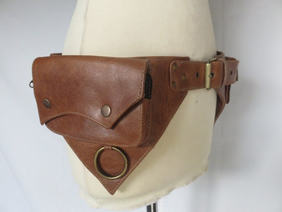 leather utility belt psytrance style in brown by