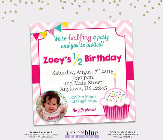 Half Birthday Party Invitation Girl Cupcake 6 Month Birthday