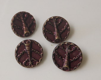 SALE!***4 Antique TINTED METAL Shell Motif Buttons