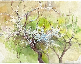 Flowering apricot tree blossom watercolor painting - wood painting original and print , watercolour on paper