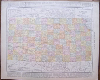 Authentic Antique Vintage 1913 Map of Kansas Rand McNally Unrivaled Atlas of the world page 103 year old map
