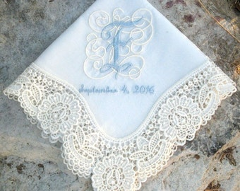 WEDDING HANDKERCHIEF, Elegant Lace, Initial Embroidery, Bride, Wedding or Shower Gift, Personalized, Made in Germany, Gift Box, Lace Ladder