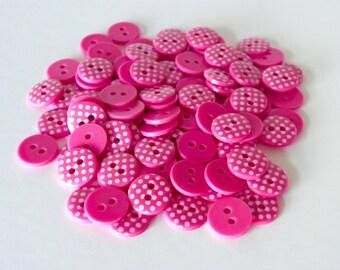 5 x 12mm Cerise Pink Polka Dot Buttons