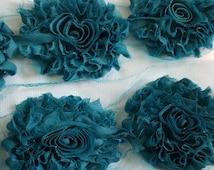"GLITTER shabby flower trim,3"" PEACOCK shabby  rose trim ,headband supplies, wholesale shabby flower  by the yard , embelishment flower"