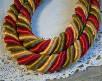 Pair of french vintage thick rope curtain tie backs. Red gold green. Curtain Passementerie. Curtain tie backs. Curtain holds