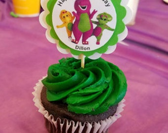 Barney Birthday Party Cupcake Toppers Baby Bop & BJ Baby Shower 3-D High Quality 1 Dozen