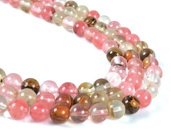 "8MM040 Volcano cherry quartz round ball loose gemstone beads 16"""