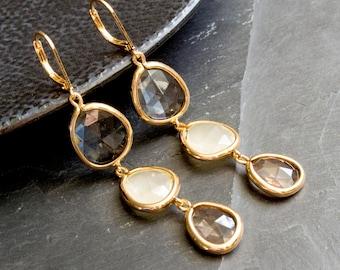 Beige stone earrings