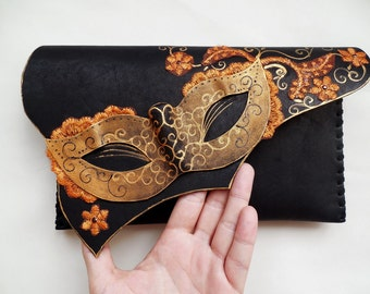 Masque or pochette de masque en cuir Venise masque peint masque bourse or cuir Masque Masque victorien original peint cuir masque bourse d'embrayage