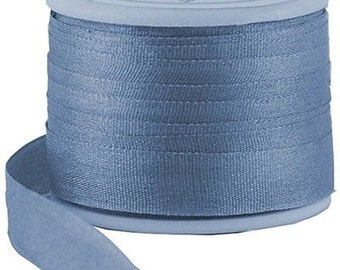 11 Yds (10 M) Embroidery Silk Ribbon 100% Silk 7mm - Med Blue - By Threadart