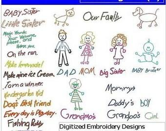 Embroidery Design CD - Stick Figures(1) - 34 Designs - 9 Formats - Threadart