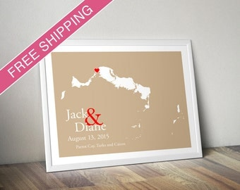 Custom Wedding Gift : Personalized Wedding Location and Country Map Print - Turks and Caicos - Engagement Gift, Wedding Guest Book